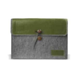 J.M.SHOW Envelope Leather + Wool Felt Protective Bag for MacBook 12-inch with Retina Display(2015), Size: 31x21cm - Green