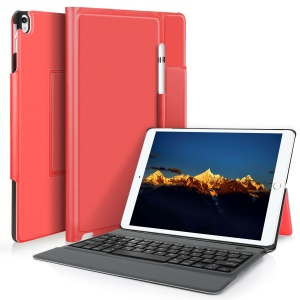 Integrated Bluetooth Keyboard Leather Tablet Stand Case for iPad Pro 10.5 (2017) - Red