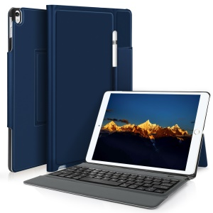 Integrated Bluetooth Keyboard Leather Tablet Cover Stand for iPad Pro 10.5 (2017) - Blue