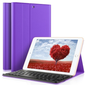 Detachable Wireless Bluetooth Keyboard Leather Case with Stand for iPad 9.7-inch (2017) - Purple