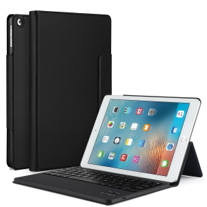Detachable Wireless Bluetooth Keyboard Leather Case with Stand for iPad 9.7 (2017) - Black