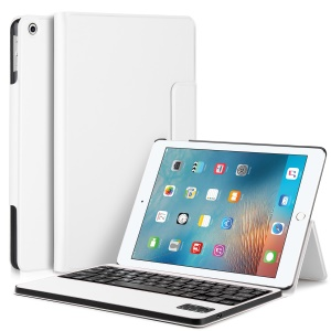 PU Leather Detachable Wireless Bluetooth Keyboard Cover Case with Stand for iPad 9.7 (2017) - White