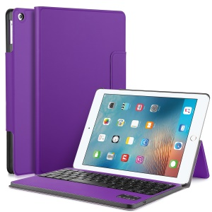 Removable Bluetooth Keyboard Leather Stand Protective Cover for iPad 9.7 (2017) - Purple