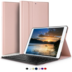 Removable Wireless Bluetooth Keyboard Leather Cover with Stand for iPad Pro 10.5 (2017) - Rose Gold Color