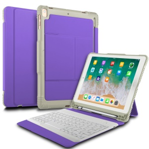 Detachable Bluetooth Keyboard Leather Tablet Casing with Stand for iPad 9.7-inch (2017)/iPad Pro 9.7 inch (2016)/iPad Air 2/iPad Air - Purple