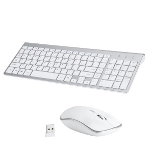 Compact Full-size Mute 2.4G Wireless Keyboard Mouse Combo Set - White