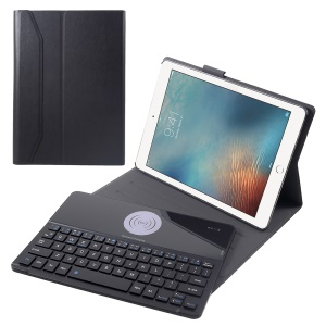 Black - CK-2071B Slim Leather Stand Case with Detachable Wireless Charger Bluetooth Keyboard for iPad 9.7-inch (2018)/9.7-inch (2017)