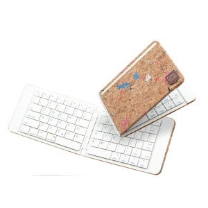 Ultra-thin Rechargeable Folding Bluetooth Wireless Keyboard for IOS Android Phones Tablets - White / Wood Texture