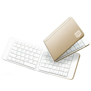 Ultra-thin Rechargeable Folding Bluetooth 4.1 Wireless Keyboard for IOS Android Phones Tablets - White / Gold