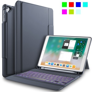 Bluetooth 3.0 Backlit Keyboard PU Leather Protective Case Shell for 9.7 inch iPad - Grey