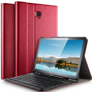Detachable Bluetooth Keyboard Leather Stand Flip Cover with Pen Slot for Samsung Galaxy Tab S4 10.5 - Red