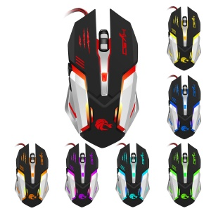 HXSJ S100 High-end 7 Bright Colors LED Backlit Optical Professional Gaming Mouse - Black