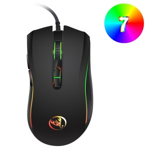 HXSJ A869 Seven Lightning Colors Game Four Gears Adjustment Electronic Sports Mouse