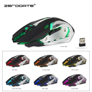 ZERODATE X70 2.4G Colorful Luminous Game Mouse Chargeable Wireless Mouse - Black