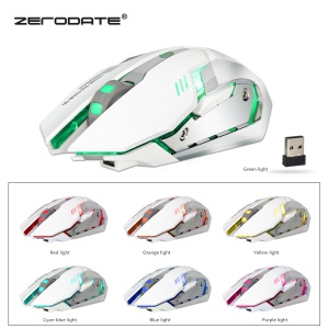 ZERODATE X70 2.4G Colorful Luminous Game Mouse Chargeable Wireless Mouse - White