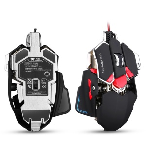 COMBATERWING CW80 4800 DPI Optical Wired Gaming Mouse, Programmable 10 Buttons and LED Light - Black