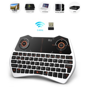 RII Mini I28 2.4GHz Wireless Keyboard Mouse Touchpad Combo 73 Keys QWERTY Keyboard with Backlit (CE/FCC) - Silver Color