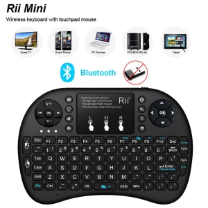 RII Mini I8+ BT Bluetooth Wireless Touchpad Keyboard with Backlight for Computer Laptop Tablet Phone - Black