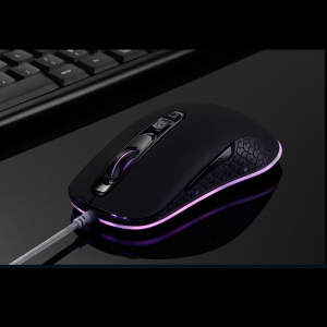 S006 4000DPI 7 Color LED Light Optical Wired Gaming Mouse - Black