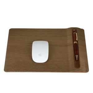SAMDI Natural Wood Mouse Mat Pad with Desk Pen Pencil Holder - Walnut Wood
