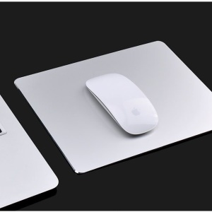 YED Aluminum Alloy Gaming Mouse Pad with Non-Slip Rubber Base, 250 x 200mm - Silver