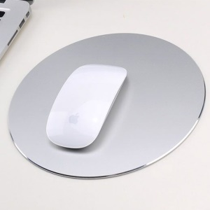 YED Round Shape Aluminum Alloy Gaming Mouse Pad with Non-Slip Rubber Base, 220 x 220mm - Silver