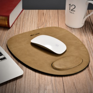 ICARER Shenzhou Real Cowhide Leather Mouse Pad with Wrist Protection Design - Brown