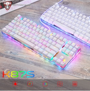 MOTOSPEED K87S Wired RGB Backlit Keyclick Mechanical Keyboard with Blue Switch -White