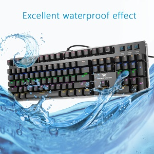 COMBATERWING T10 104 Keys Wired USB Mechanical Gaming Keyboard RGB Backlit with Blue Switches - Black