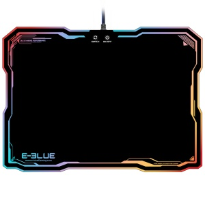 E-3LUE EMP013 Adjustable RGB Lighting Gaming Tapete de mouse USB Wired Computer Notebook Mice Mat - Preto