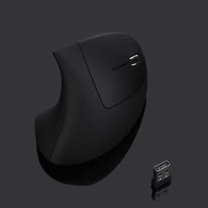 MODAO 1600DPI 6 Buttons 2.4G Wireless Vertical Ergonomic Mouse with Nano Receiver - Black
