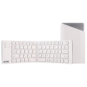 BOW HB022 Ultra-Thin Foldable Wireless Bluetooth Keyboard with Rechargeable Battery - White