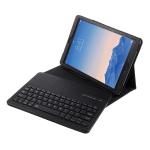 For iPad 9.7-inch (2017) Movable Wireless Bluetooth Keyboard Leather Stand Case Cover - Black