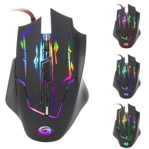 K1021 6-Key Wired Optical Gaming Mouse avec lumière colorée