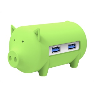 ORICO H4018 Little Pig Hub for MacBook Air Laptop PC USB 3.0 Hub with TF SD Card Reader- Green