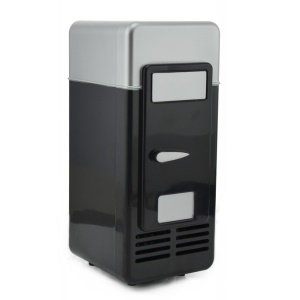 Mini USB Powered Beverage Drink Can Cooler/Warmer Fridge - Black