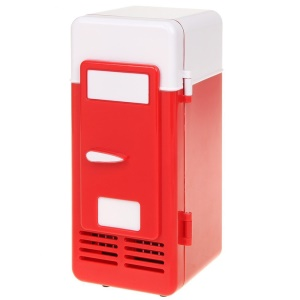 Mini USB Powered Beverage Drink Can Cooler/Warmer Fridge - Red