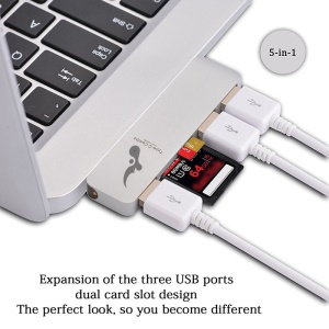 Type-c À 3xusb 3.0 + Port De Carte SD + Micro Adaptateur De Port SD Convertisseur 5-en-1 USB Type-c Hub Pour Macbook Etc. - Blanc