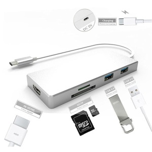 Type-C to HDMI and 3*USB 3.0 HUB and TF / SD Card Reader USB Hub for Macbook Pro PC