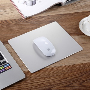Aluminum Alloy Mouse Pad with Non-slip Rubber Base - Silver