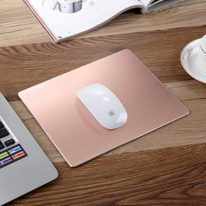 Gaming Aluminum Alloy Mouse Pad with Non-slip Rubber Base - Rose Gold Color
