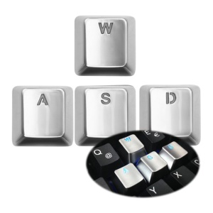 SINCETOP Plating Zinc Alloy Sensitive 4 Key Caps for Mechanical Keyboard - WASD / Silver