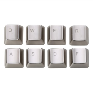 SINCETOP Electroplating Zinc Alloy QWERASDF 8 Metal Key Caps for Mechanical Keyboard - Silver
