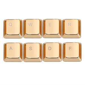 SINCETOP Zinc Alloy Plating QWERASDF 8 Metal Key Caps Covers for Mechanical Keyboard - Gold