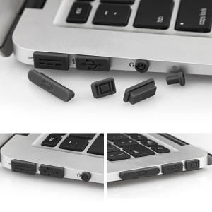 "12Pcs/Set Silicone Anti-dust Plugs for MacBook Pro with Retina 13""/15"", Air 11""/13"" Ports - Black"