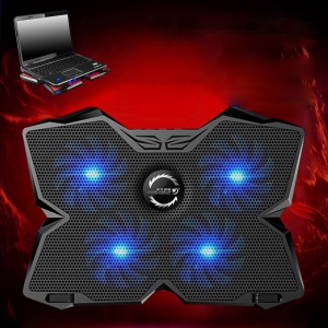 COOLCOLD Ice Magic II 4 Silent Fans LED USB Laptop Cooling Pad Laptop Holder - Black