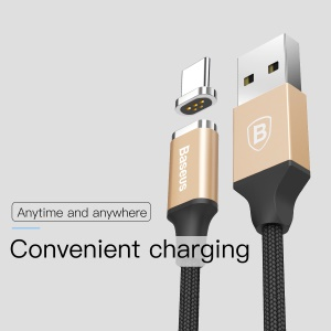 BASEUS Nylon Braided 3A Magnetic USB Type C Charging Data Cable for Samsung Galaxy S8 / LG G6, etc. - Gold Color/ Black