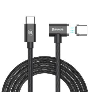 BASEUS 20V 4.3A 1.5M Type-C Magnet Charging Cable (Side Insert) for Macbook / Notebook - Black