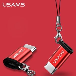 USAMS US-SJ153 Micro USB Female para Tipo-C Male Adapter Mini Converter para Huawei P10/P10 Plus etc. - vermelho