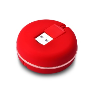 1M Macaron Portable Retractable USB Cable 2-in-1 Type-c + Micro USB Data Sync & Charge Adapter Cable - Red